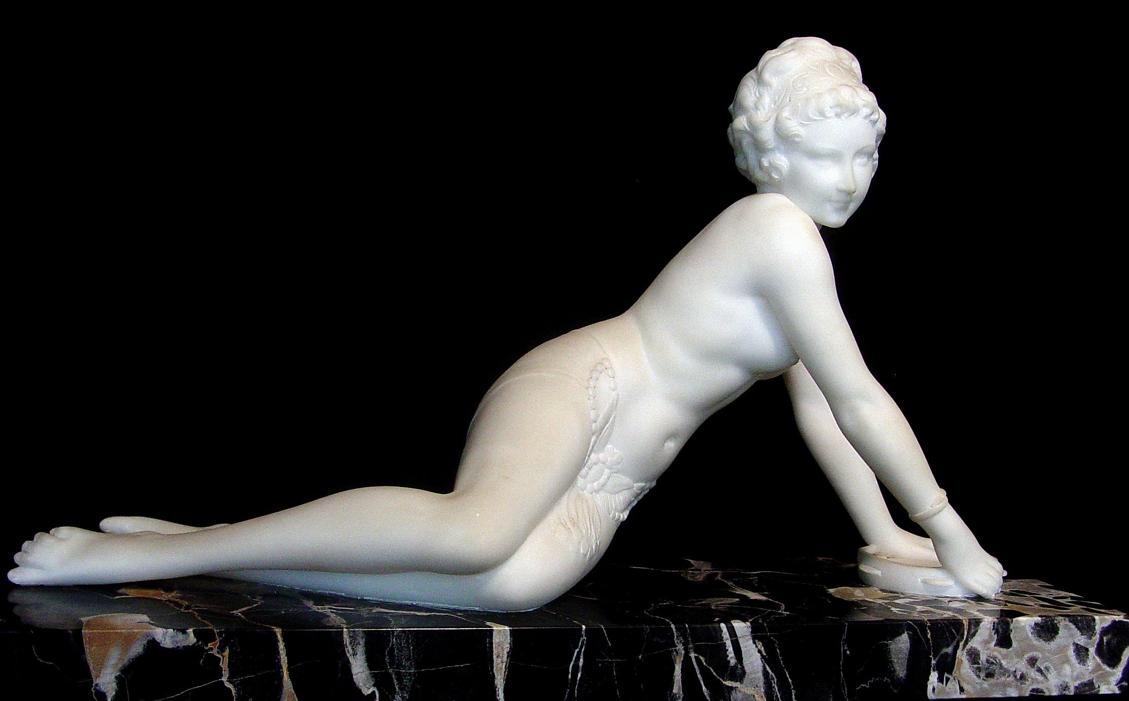 Western human stone sculpture, nude man woman statue, garden white marble sculpture